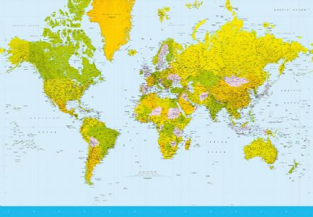 Photo wallpaper Blue Map Of the World